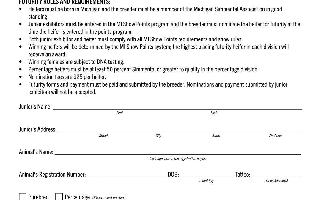 Michigan Breeders Futurity Entry Form 2020